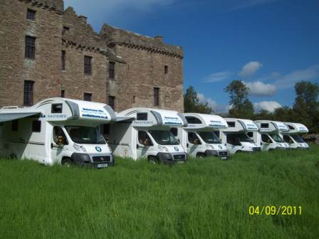 Motorhomes outside Huntingtower Castle