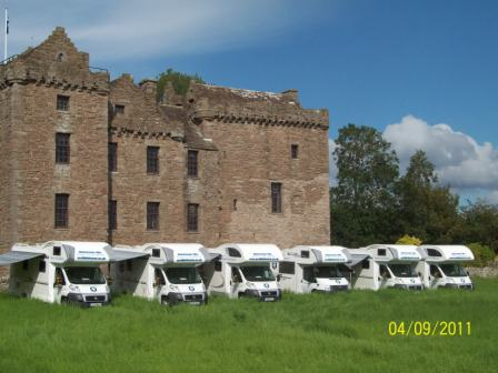 Motorhomes parked outside Huntingtower Castle in Perth
