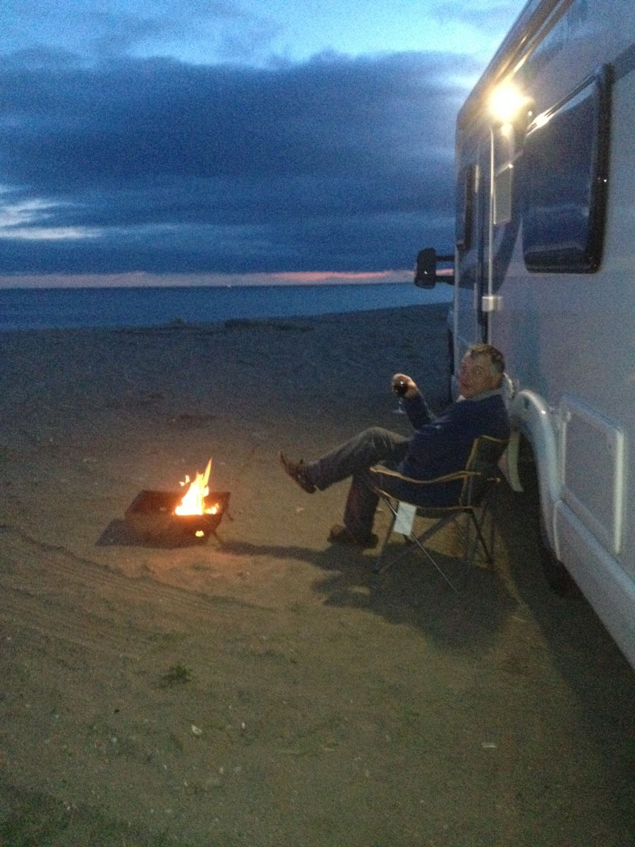 Sunset enjoying a BBQ with scottish tourer Motorhome Hire