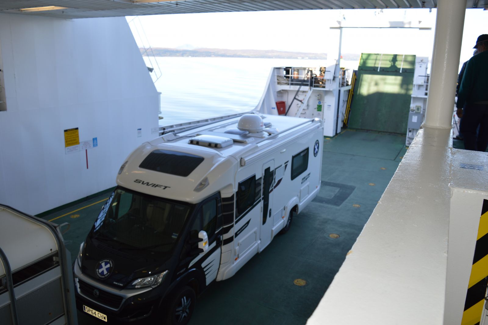 motorohome on the ferry to Mallaig