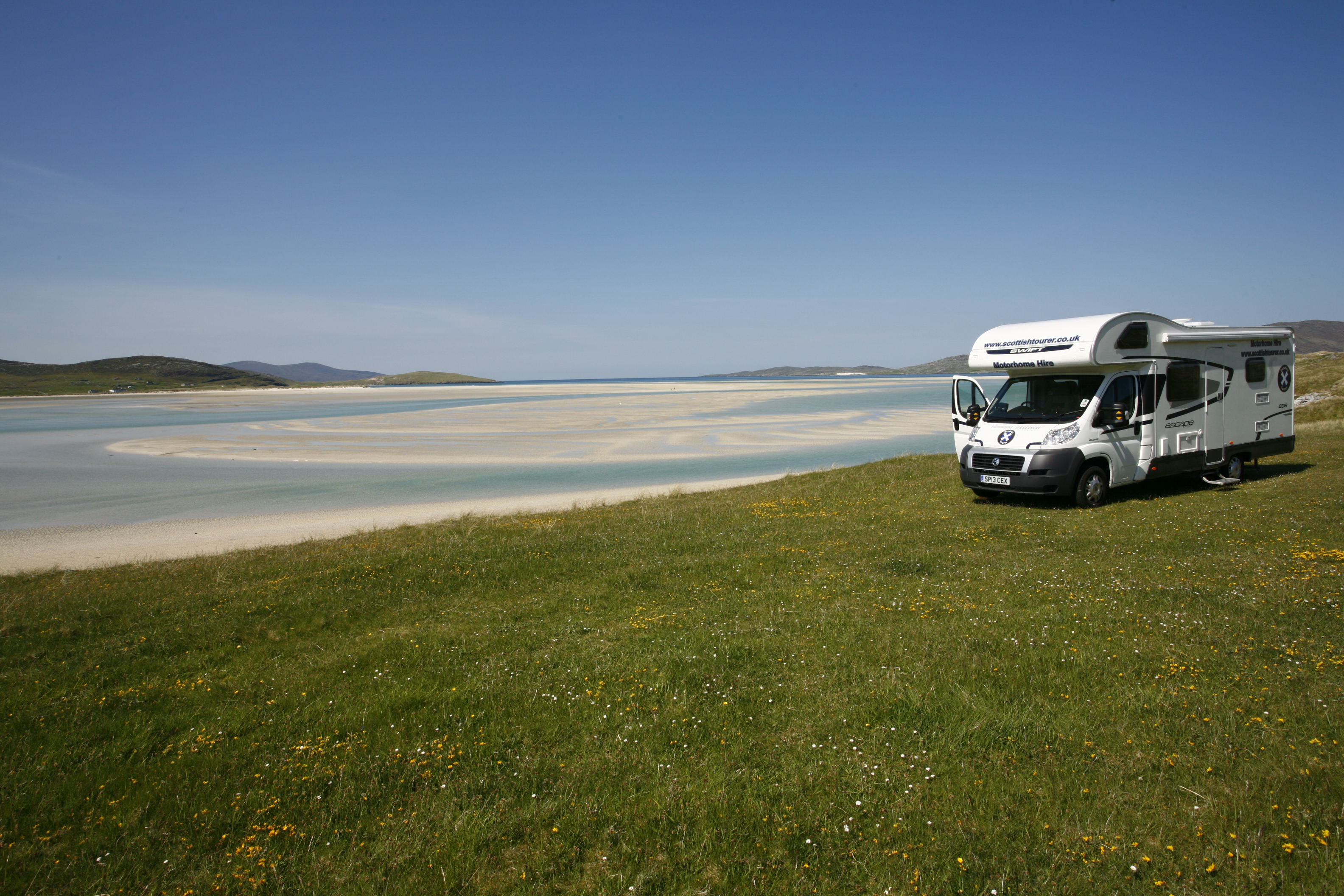 By the Beach in a scottish tourer Motorhome