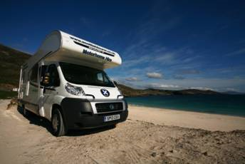 Scottish tourer motorhome parked on the beach
