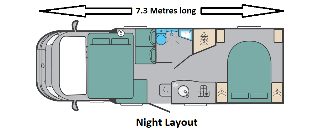 The Barra night layout at Scottish Tourer motorhome Hire