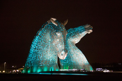 Kelpies lit up at night