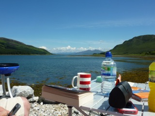 picnic at the loch with scottish tourer motorhome Hire