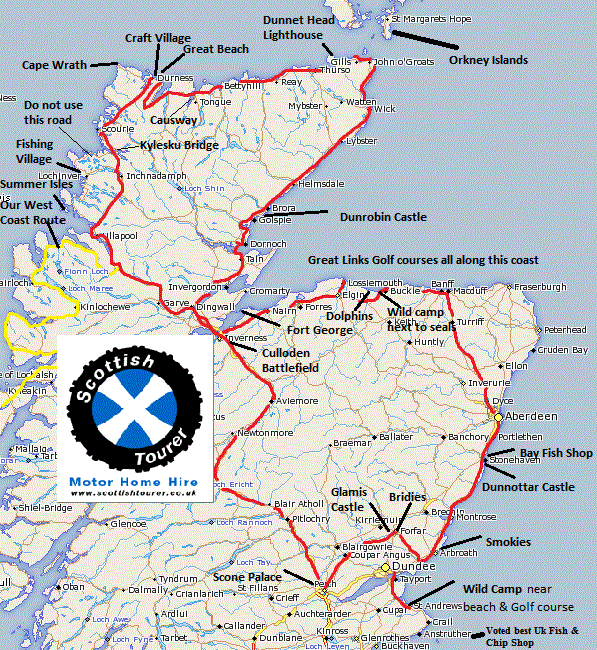 Map Of Uk East Coast.Motorhome Tour North East Cost Scotland Route Attractions
