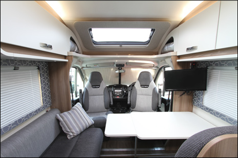 Hire motorhome scotland - Image of the seating area and cab of The Islay Motorhome