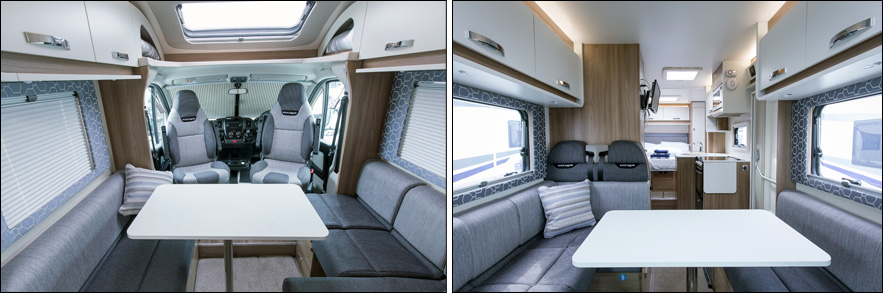 The image shows the interior of the 2017 Skye motorhome model